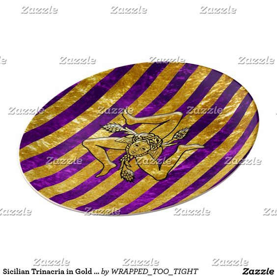 Sicilian Trinacria in Gold on Purple Ornamental Dinner Plate