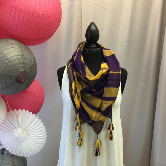 Purple Gold Spirit Scarf. Great colors and love the tassels perfect for any occasion but go