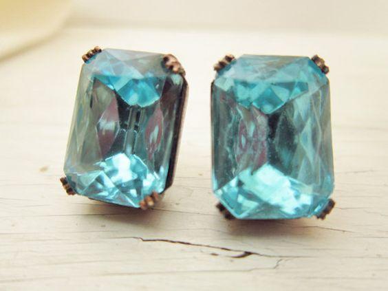 Vintage Jewel Post Earrings Aqua Blue Mad Men by GoingHoLLyWood, $18.00