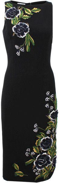 Oscar de la Renta Jewel Neck Flower Embroidered Dress: