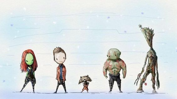 Guardians of the Galaxy: Gamora, Peter Quill, Rocket Raccoon, Drax the Destroyer, Groot