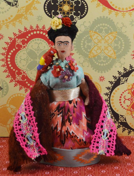 Frida Kahlo Doll Miniature Self Portrait by UneekDollDesigns