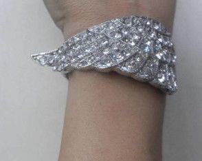 ~ Bracelete Cravejado Strass Asa Anjo ~