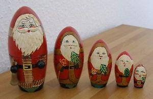Alte-Holzpuppen-Matroschka-Babuschka-schoene-Weihnachtsmaenner-5-St-Handgemalt
