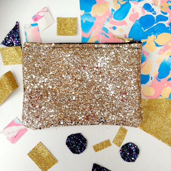 Gold Glitter Party Clutch Purse Make Up Bag Clutch Purse and Make Up