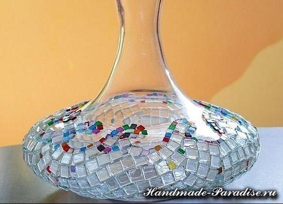 Ideas para el hogar decoraci n florero de vidrio mosaico for Ideas de decoracion para el hogar