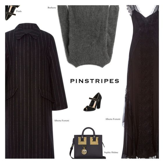 """""""Pinstripes"""" by amberelb ❤ liked on Polyvore featuring Alberta Ferretti, Prada, Burberry and Sophie Hulme"""