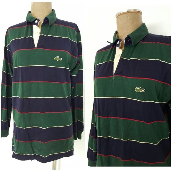 Vintage Lacoste Shirt Size Large Stripe Polo Rugby Crocodile Mens Long Sleeve  #Lacoste #PoloRugby