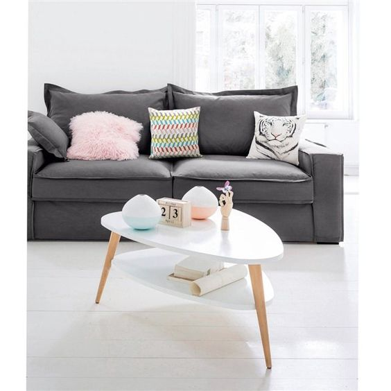 table basse grise avec pouf. Black Bedroom Furniture Sets. Home Design Ideas