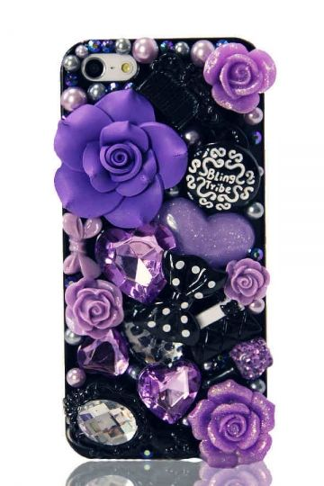 REGISTER ON PERSNMALL.COM Flower Rhinestone Case for iPhone 4 & 4S
