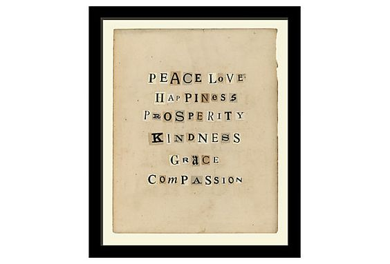 Peace Love Happiness, collage on OneKingsLane.com