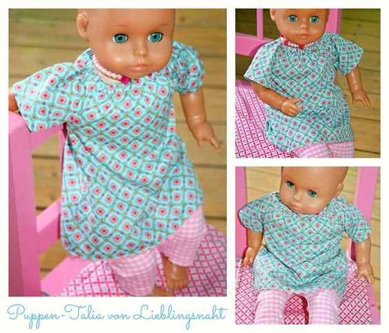 Talia Tunika als Freebook für Puppen (für Puppen- Mamis gibt es das Schnittmuster zu kaufen, ist echt toll und empfehlenswert), verlängert auch als Kleid