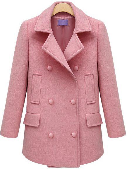 Pink Lapel Long Sleeve Slim Woolen Coat 60.00
