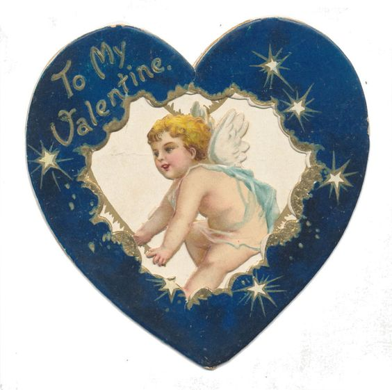 Ellen Clapsaddle Fold Open Valentine with Cupid in Starry Heart