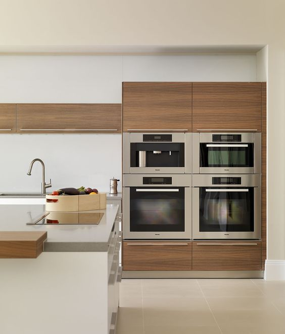 Contemporary White And Wood Kitchen