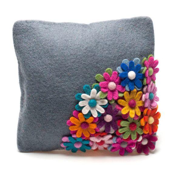 Handmade Sunny Felt Cushion by Feltsogoodltd on Etsy, £39.95