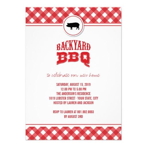 Red Checks Backyard BBQ Housewarming Summer Party Custom Invites