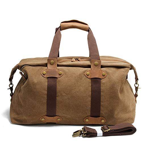 Carriemeow Large-Capacity Travel Bag Mens Portable Shoulder Canvas Bag Color : Coffee Color