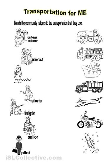Printables Community Worksheets community helpers worksheets for preschoolers students will identify the transportation used by means of transport reading speaking writing worksheet