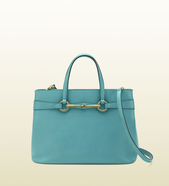 Gucci's Bright Bit Light Blue Leather Top Handle Tote is a bit of a mouth full, but it's also drop-dead gorgeous!