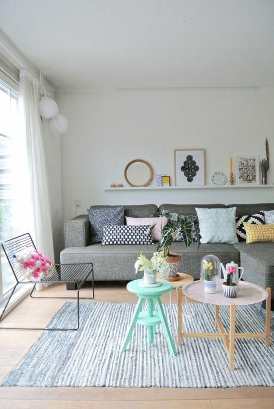 skandinavische möbel wohnzimmer modern einrichten pastelltöne holz ... - Wohnzimmer Modern Holz