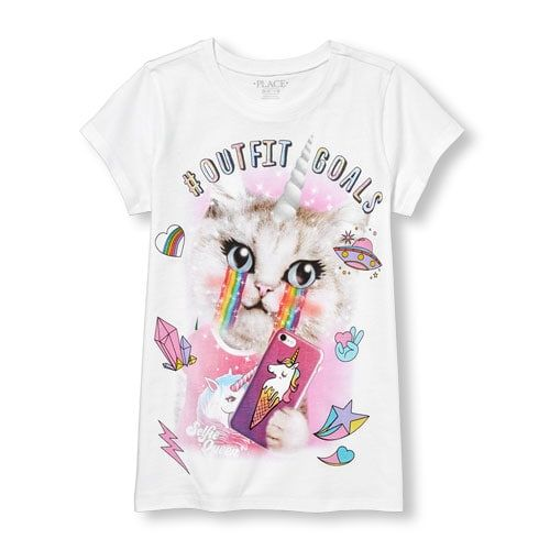 The Children's Place Shirt Girls Unicorn white pink Color Short Sleeve Size 7//8.
