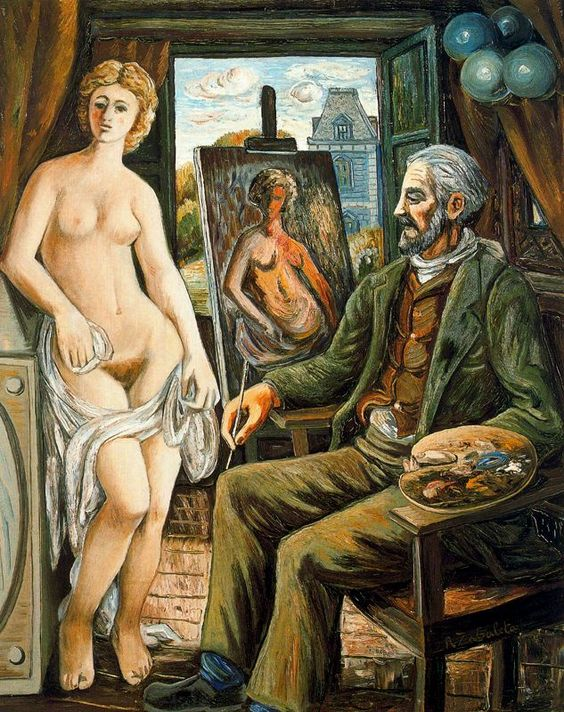 Model and painter with easel - Rafael Zabaleta 1945