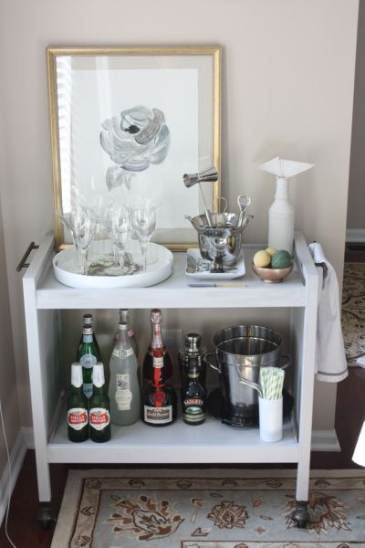 Bar Cart_Front.. thrift store find, this little microwave cart gets to live on with an (arguably more fun) second life.