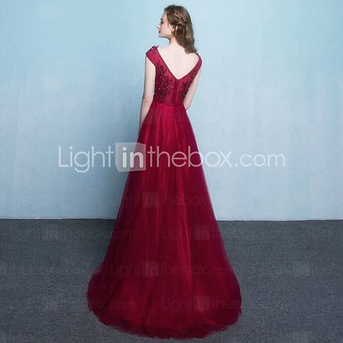 Formal Evening Dress A-line Jewel Floor-length Tulle with Sash / Ribbon 2017 - $114.39
