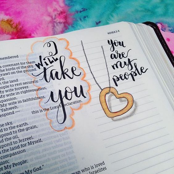Sep. 6. Hosea 2:19-20. I will take you to be my wife forever... I will take you... I will take you.  This is the most reassuring thing. God lovingly takes Israel with all their failings. Forever.  This is a beautiful image of what He does for us!  He loved us first. His love is unfailing. ❤️#illustratedfaithdaily2016 #illustratedfaith #illuminatedfaith #scriptureart #sheletterstruth #shereadstruth #bibleart #bibleartwork #bibleartjournal #bibleartcommunity #bibleartjournaling…
