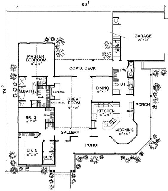 Large Open Floor Plans With Wrap Around Porches: Brick Homes, House Plans And Wrap Around Porches On Pinterest