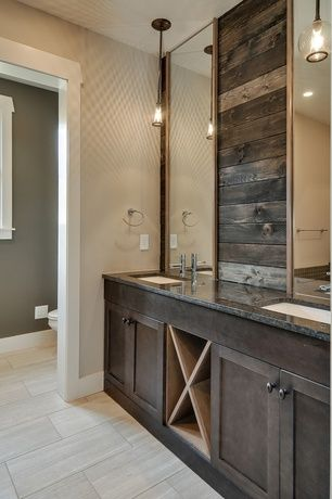 Rustic Master Bathroom With Undermount Sink Simple Granite Counters Flat Panel Cabinets Pendant Light