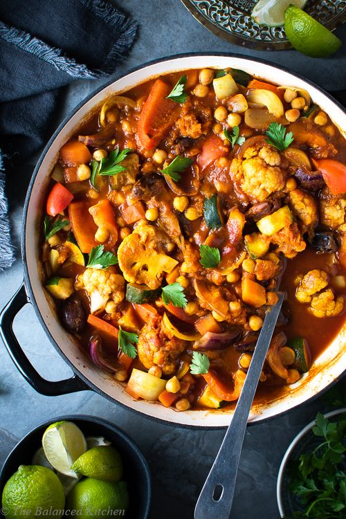 Easy One Pot Moroccan Vegetable Tagine The Balanced Kitchen Recipe Moroccan Vegetables Tagine Recipes Recipes