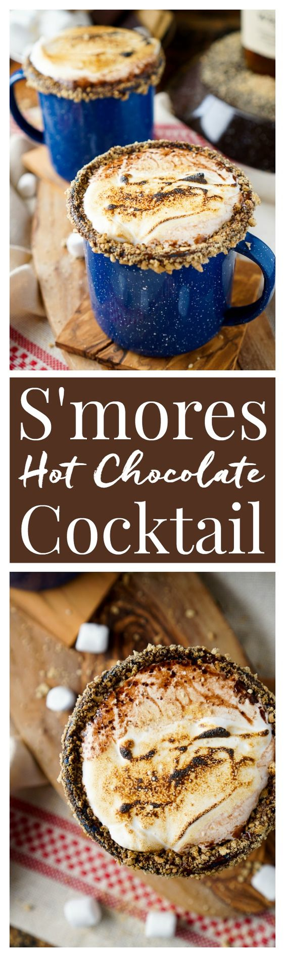 This Campfire S'mores Hot Chocolate Cocktail is laced with whiskey and honey for a smooth and cozy drink!