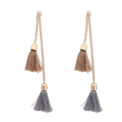 Khaki Double Tassel Stud Earrings