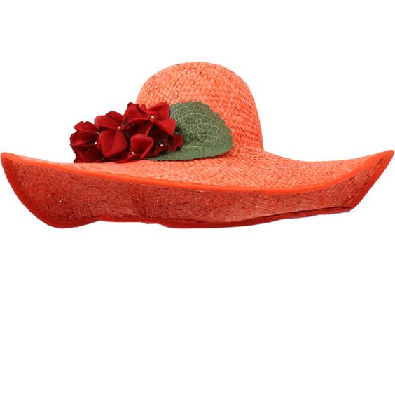 Save The Queen Large Straw Hat With Roses (¥14,735) ❤ liked on Polyvore featuring accessories, hats, brim straw hat, orange hat, floral hat, brimmed hat and rose hat