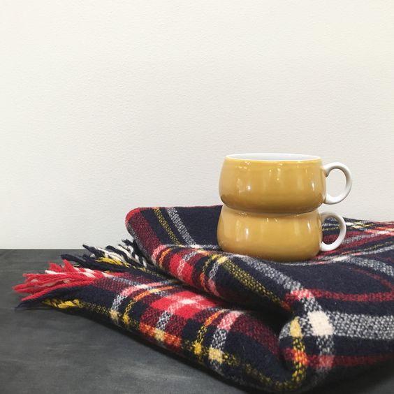 Navy Plaid Wool Throw Blanket