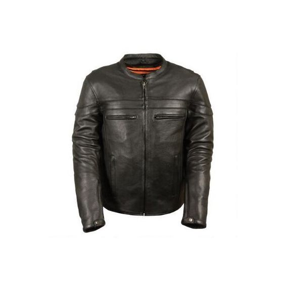 Milwaukee Leather Reinforced Leather Motorcycle Jacket - New Arrivals... ($240) ❤ liked on Polyvore featuring mens, men's clothing, men's outerwear and men's jackets