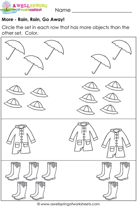 More and Less Worksheets - Compare Numbers / Compare Sets | MATH ...