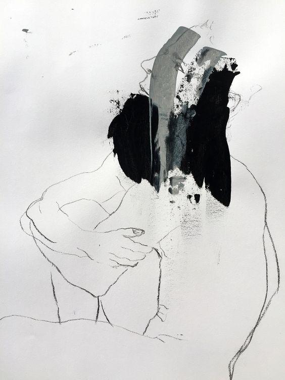 EAV - Escola de Artes Visuais do Parque Lage - Rio de Janeiro. Modelo Vivo, Prof Gianguido Bonfanti. Carvão e guache sobre papel Canson fine face, 35x50cm #eav #parquelage #drawing #charcoal #charcoaldrawing #figure #fromlife #livemodel #gouache #modelovivo #desenho #carvão
