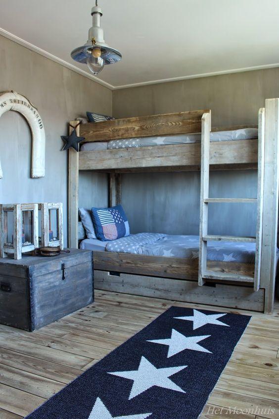 Het moonhuis stoere jongenskamer met een geweldig mooi stapelbed moodbord jongens kamer - Idee deco slaapkamer tiener jongen ...