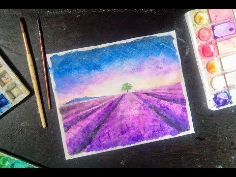 Watercolor Painting Video Lavender Field Youtube Watercolor