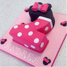 Two Number Pink Minnie Cake With Images Minnie Mouse Birthday