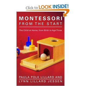Another great Montessori book: This one's more indepth.  It also has a cool pictorial timeline to help me know what  developmental mini-milestones are next so I can think of games and projects James will find most interesting.