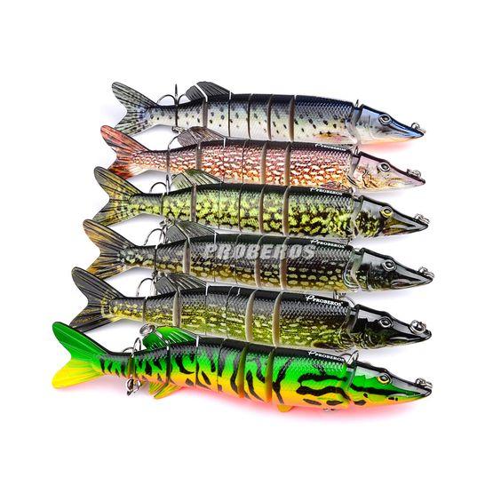 $9.90 (Buy here: http://appdeal.ru/7i24 ) 20cm 66g Lifelike Pike Muskie Fishing Lure 8-segement Swimbait Crankbait Pesca Hard Fishing Bait Treble Hook Fishing Tackle for just $9.90