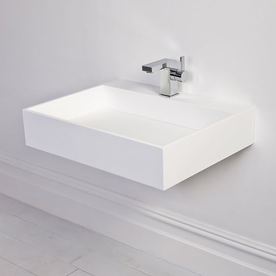 Stone Ethos slim Solid surface stone resin counter top wall hung basin ...