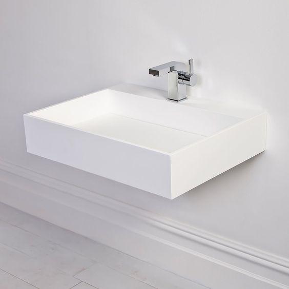 Slim Wall Hung Basin : Stone Ethos slim Solid surface stone resin counter top wall hung basin ...