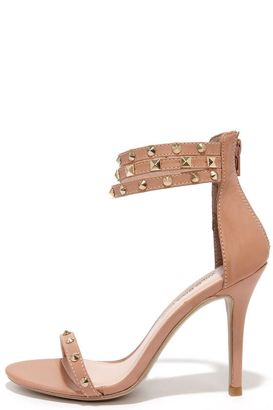 Spikes Palace Nude Studded Ankle Strap Heels | Ankle Strap Heels ...