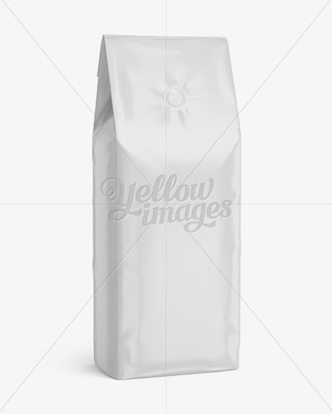 Glossy Coffee Bag With Valve Mockup - Half-Turned View