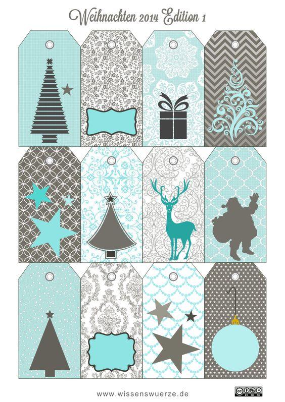 Geschenkanhänger, Tags and weihnachtliche Geschenkkärtchen on ...